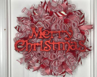 """Peppermint Striped - Red and White- Merry Christmas Mesh Wreath- 20"""""""