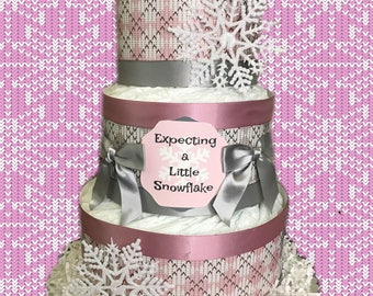 Expecting a Little Snowflake Winter/Christmas Baby Shower Diaper Cake- Pink