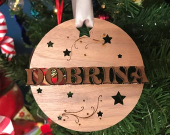 Personalized Name Cutout Wood Ornament with Shooting Stars