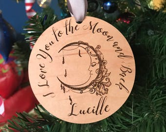 Personalized Round Wood Ornament with Whimsical Moon