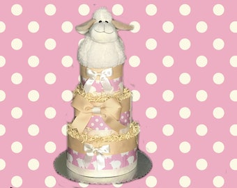 Counting Sheep- Pink Baby Shower Diaper Cake