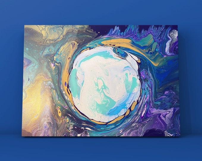 "Frozen Portal- One of a Kind Original Acrylic Fluid Art Painting- 16"" x 20"""
