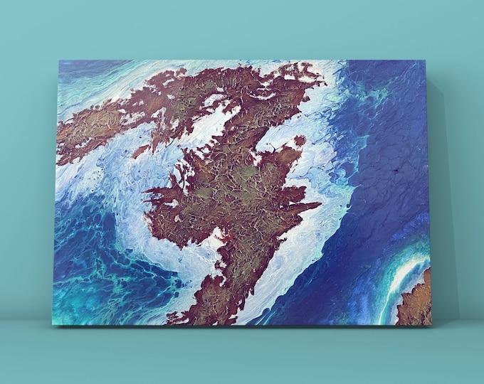 "Ripples- Original One of a Kind Acrylic Textured Fluid Art Ocean/Island Painting- 20"" x 24"""