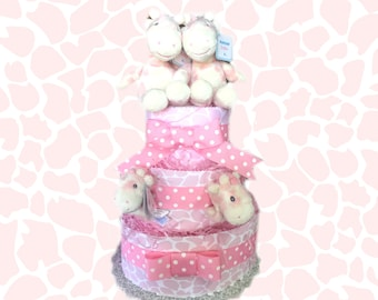 Baby Pink Giraffe Print Diaper Cake- For Twins or Single Babies- Pick Your Size