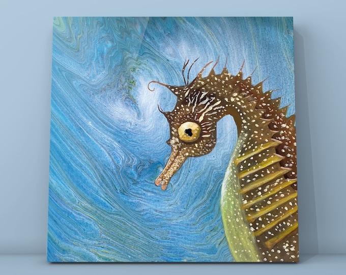 "Selfie Seahorse- Original Acrylic Painting on Canvas- 20"" x 20"""
