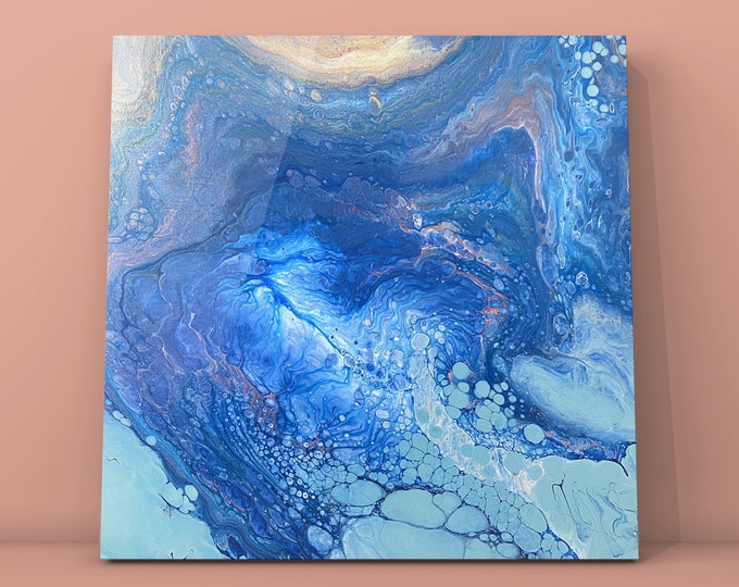 """Royal Fissure- Original Acrylic Abstract Painting on Canvas 20"""" x 20"""" x 1.5"""""""