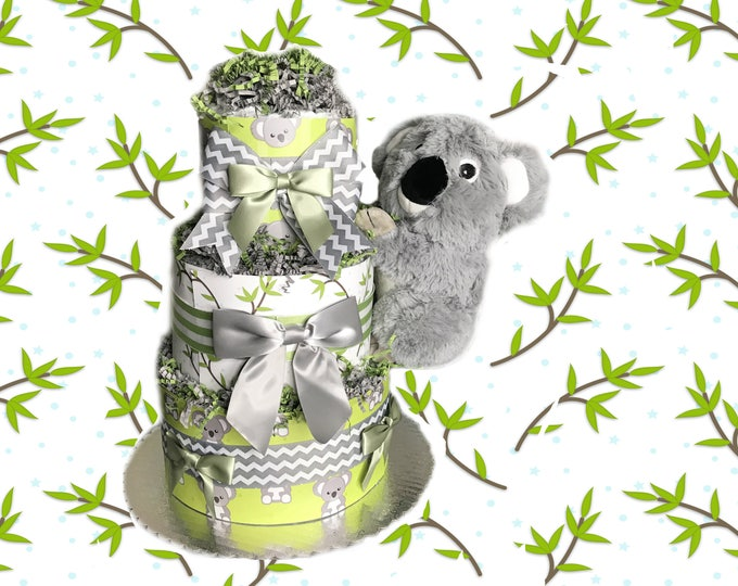 Featured listing image: Green and Grey Koala Baby Shower Diaper Cake