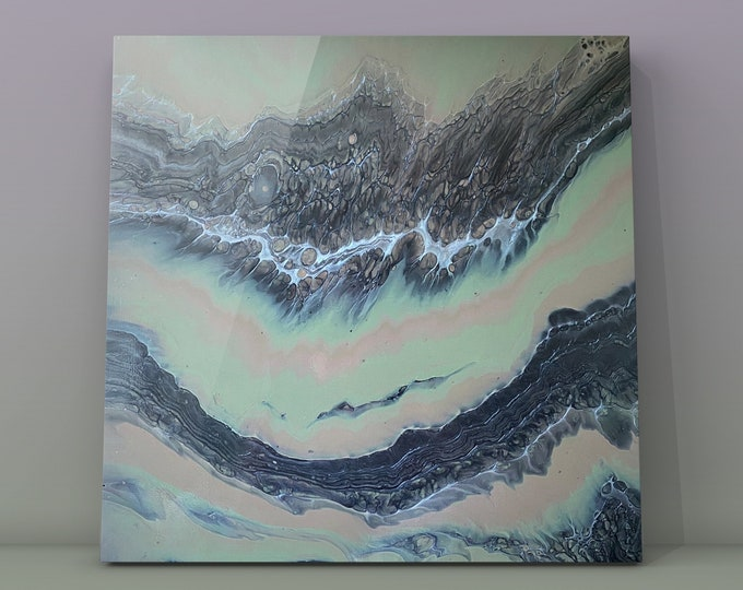 """Shades of Grey Series #7- Original Acrylic Abstract Painting on Canvas 20"""" x 20"""""""