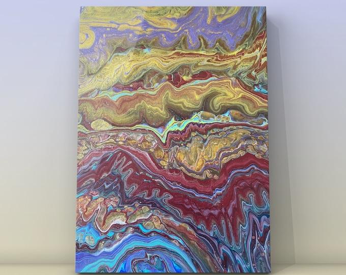 """Paraphernalia- Orignal Acrylic Fluid Art Painting- Sandwich Pour- 18"""" x 14"""" x .75"""""""
