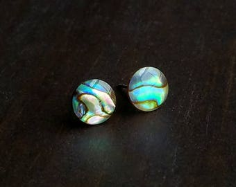 Paua Shell Stud Earrings, Surgical Steel Stud Earrings, Stainless Steel, Beach Earrings, Mermaid Earrings, Shell Studs, Abalone Studs, 8mm