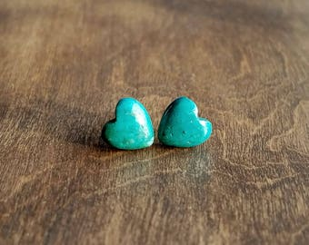 14df5f64e Turquoise Heart Stud Earrings, Surgical Steel Stud Earrings, Stainless  Steel, Turquoise Studs, Turquoise Earrings, Heart Stud Earrings, 8mm