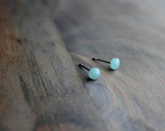 Aventurine Stud Earrings, Surgical Steel Stud Earrings, Stainless Steel, Tiny Studs, Minimal Studs, Green Studs, Gemstone Studs, 5mm