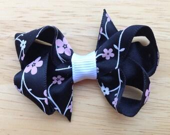 Floral hair bow - hair bows, bows for girls, toddler hair bows, baby bows, small bows