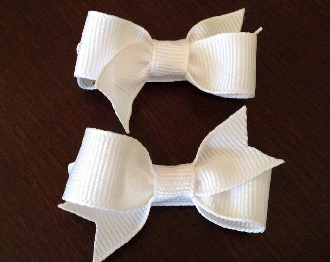 White baby bows - hair bows, bows, hair clips, baby bows, baby hair clips, baby girl bows, pigtail bows, hair bows for girls, toddler bows