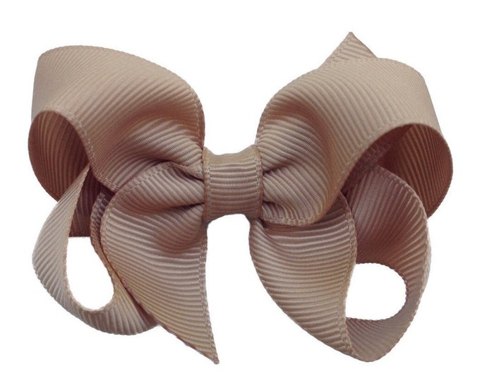 Tan hair bow - hair bows for girls, baby bows, hairbows, girls hair bows, toddler hair bows