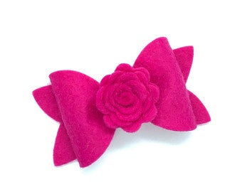 Hot pink felt hair bow - felt bows, hair bows, bows, hair clips, hair bows for girls, hair clip, hair clips for girls, baby bows, hairbows