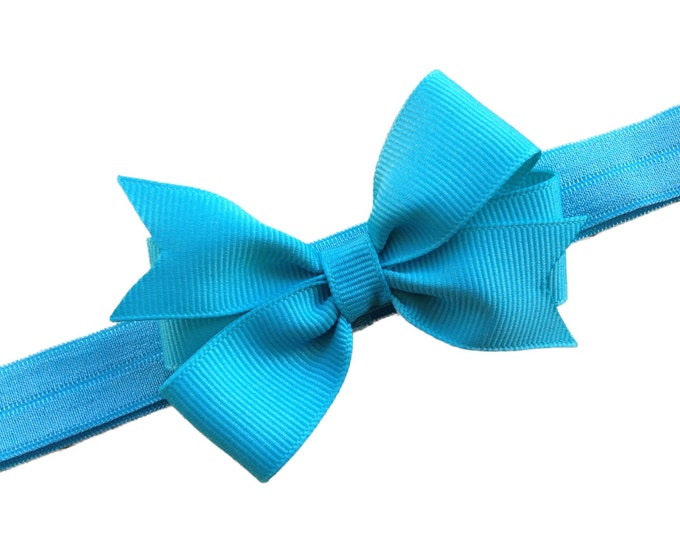 Turquoise baby headband - baby girl headband, baby headband bows, newborn headband, baby bows, baby hair bows