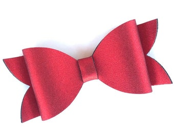 Red hair bow - faux leather bows, hair bows, girls bows, baby bows, 4 inch bows, toddler bows