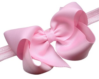 Light pink baby headband - baby girl headband, baby headband bows, newborn headband, baby headbands, baby bows, baby bow headband, hair bows