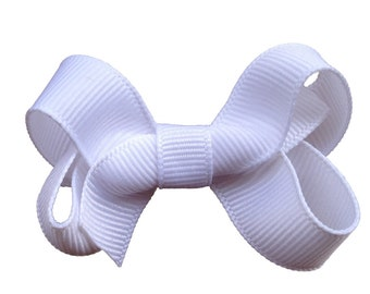 White hair bow - white bows, hair bows, baby bows, bows for girls, pigtail bows, toddler bows, small bows