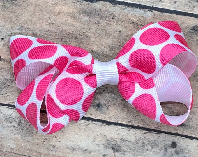 Pink polka dot hair bow - hair bows, bows for girls, toddler bows, boutique bows, girls hair bows, pigtail bows, baby bows