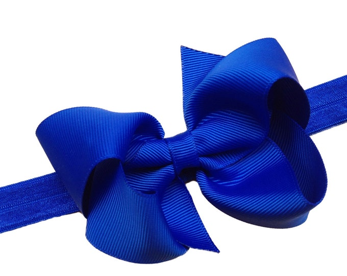 Royal blue baby headband - baby headband bows, baby girl headbands, newborn headbands, bow headband, baby bows