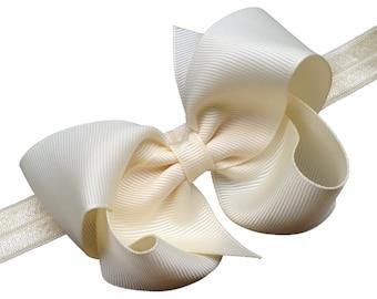 Ivory baby headband - baby headbands, baby headband bows, baby headband, baby girl headbands, baby bows, newborn headbands, baby hair bows