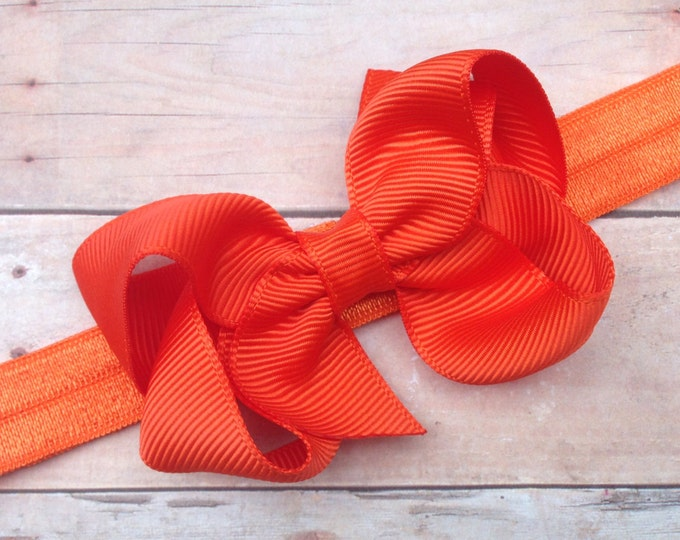 Orange baby headband - baby headband, baby girl headband, baby headband bows, newborn headband, baby bows, baby hair bows