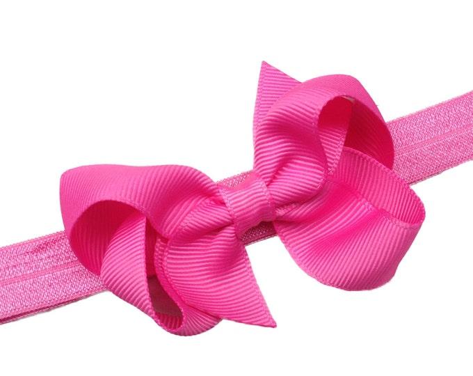 Pink baby headband - baby headband, baby girl headband, baby headband bows, newborn headband, baby bows, baby hair bows