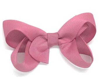 Mauve hair bow - hair bows for girls, baby bows, toddler bows, pigtail bows, 3 inch hair bows