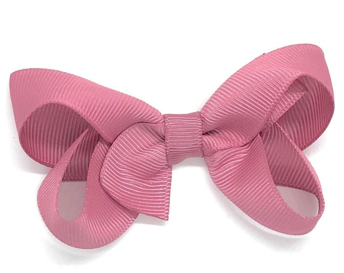 Mauve hair bow - hair bows for girls, baby bows, toddler bows, pigtail bows, 3 inch hair bows