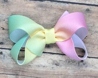 Pastel rainbow hair bow - rainbow bow, hair bows, girls hair bows, hair bows for girls, toddler hair bows, big hair bows, boutique bows
