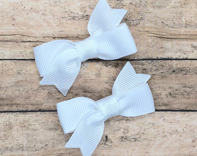 White baby bows - hair bows, baby bows, baby hair clips, pigtail bows, hair bows for girls, toddler bows