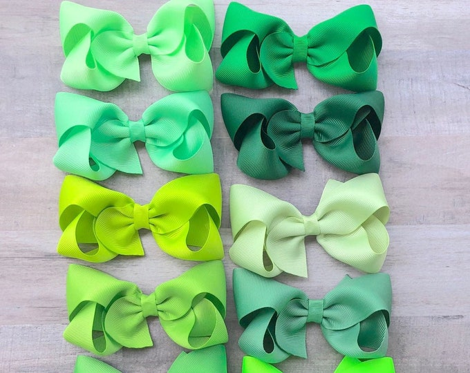 YOU PICK green hair bow - hair bows, girls bows, boutique bows, toddler bows, big hair bows, 4 inch hair bows