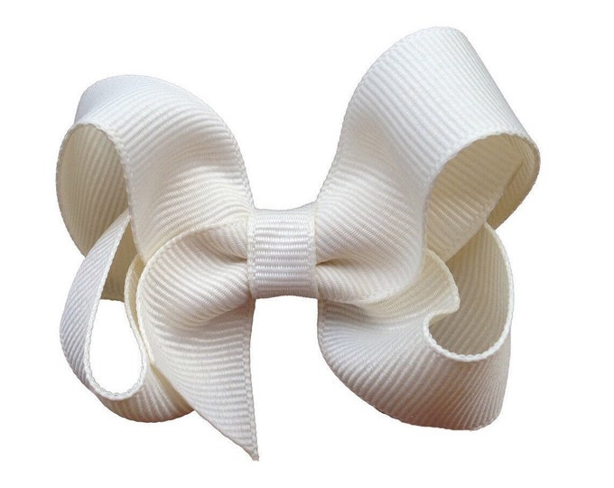 Ivory hair bow - hair bows for girls, baby bows, toddler hair bows, boutique bows, 3 inch hair bows