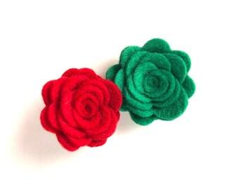 Red and green flower hair clip - felt hair bow, hair bows, bows for girls, baby bows, toddler hair bows, felt flowers