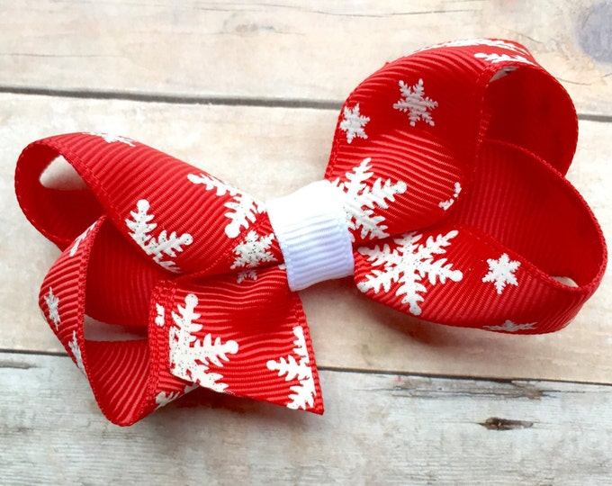 Red snowflake hair bow - hair bows, bows for girls, baby bows, toddler hair bows, 3 inch hair bows