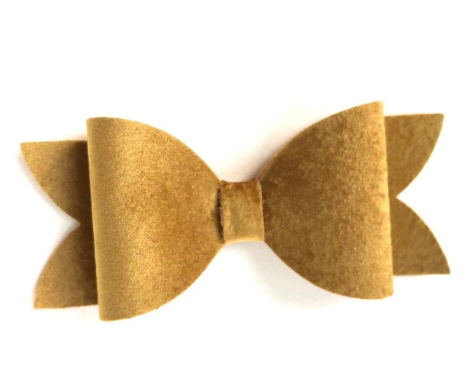 Gold hair bow - velvet hair bow, hair bows, hair clips, bows for girls, toddler bows, velvet bows