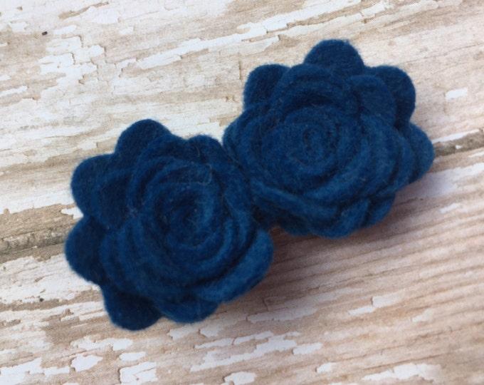 Blue felt flower hair clip - hair bows, hair clips, felt bow, felt hair clip, hair clips for girls, baby bows