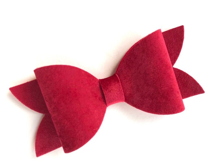 Red hair bow - velvet hair bow, hair bows, hair clips, bows for girls, girls hair bows, toddler bows, velvet bows
