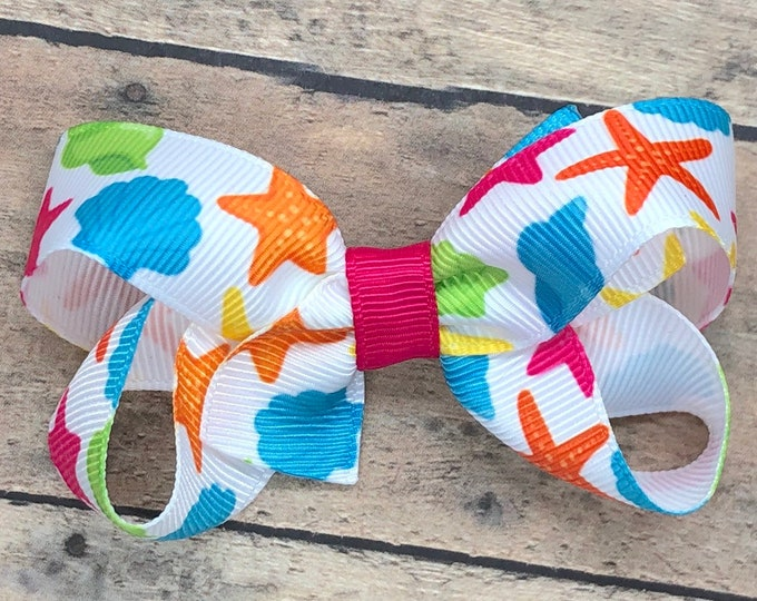 Beach hair bow - hair bows, hair clips, baby bows, pigtail bows, toddler bows, girls bows