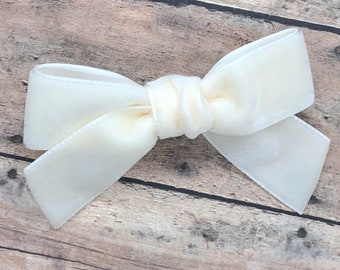 Velvet hair bow - hair bows, girls bows, velvet bows, toddler bows, baby bows, 3 inch hair bows