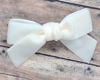 Velvet hair bow - hair bows, girls bows, velvet bows, toddler bows, baby bows, 3 inch hair bows