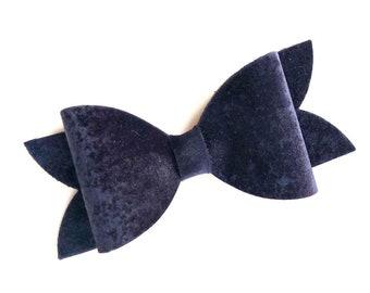 Midnight blue hair bow - velvet hair bow, hair bows, hair clips, bows for girls, hairbows, girls hair bows, toddler bows, velvet bows