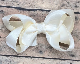 Ivory satin hair bow - ivory hair bow, satin bows, hair bows, girls hair bows, satin hair bows, girls bows, toddler hair bows, hair clips