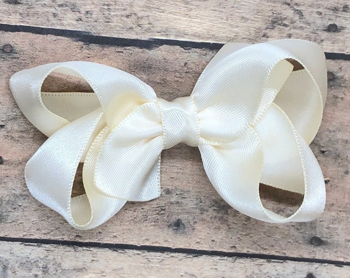 Ivory satin hair bow - ivory hair bow, satin bows, hair bows, girls hair bows, satin hair bows, girls bows, toddler hair bows, hair clips