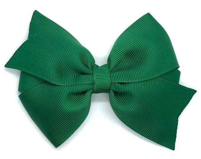 Dark green hair bow - hair bows for girls, toddler hair bows, big hair bows, pigtail bows, 4 inch hair bows