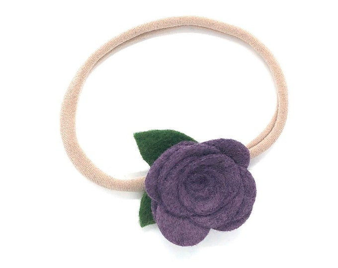 Purple felt flower baby headband - nylon headbands, baby girl headbands, flower headband, baby bows, baby headband bows