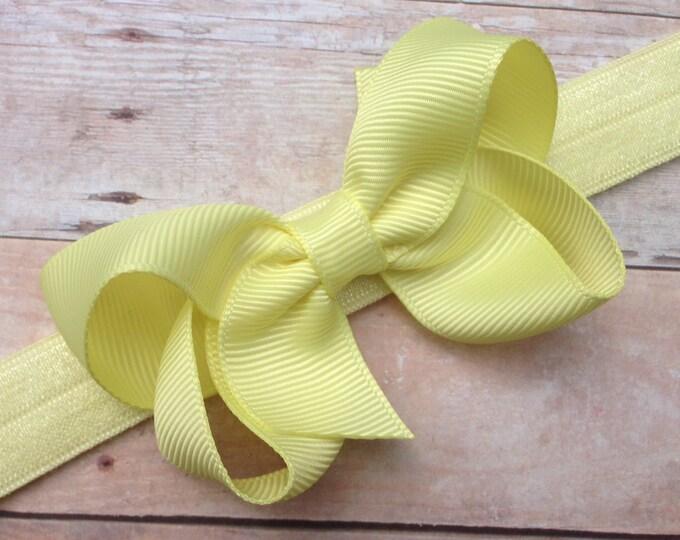 Light yellow baby headband - baby headband bows, newborn headbands, baby bows, baby girl headbands, headbands baby