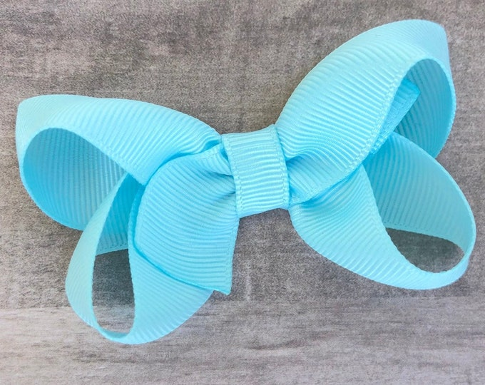 Light blue hair bow - hair bows for girls, baby bows, pigtail bows, toddler hair bows, 3 inch hair bows